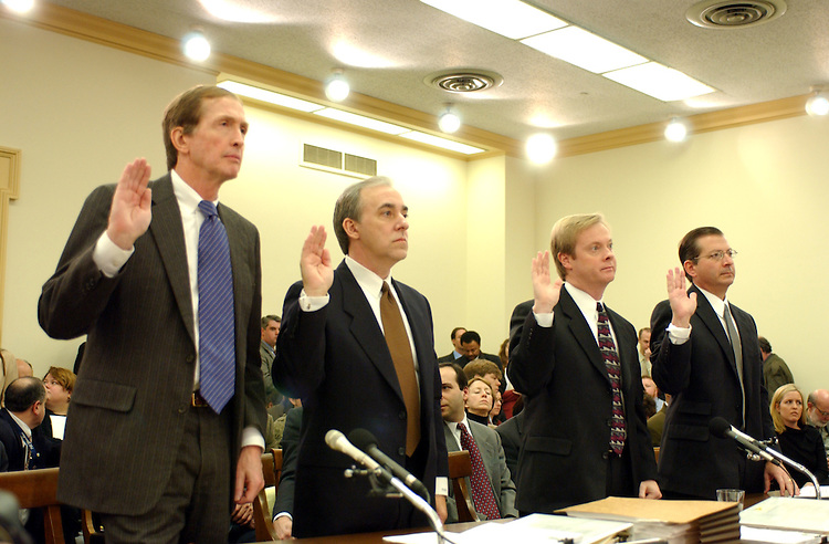 Enron24/020702 -- John Olson, Sanders, Morris Harris Senior vice President and Director of Research, Thomas H. Bauer, Partner, Anderson LLP, Jeffrey McMahon, Enron's former treasurer and now it's President; and Jordan Mintz, a former company attorney, during the oversight and investigations subcommittee hearing to examine the findings of Enron's special investigative committee with respect to certain transactions between Enron and some of its current and former officers and employees.