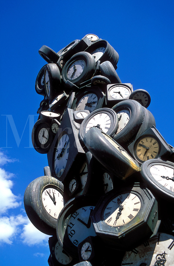 France, Paris, sculpture of clocks