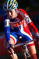 03 NOV 2012 - IPSWICH, GBR - Nikki Harris (GBR) of Great Britain makes her way round the course during the Elite Women's European Cyclo-Cross Championships in Chantry Park, Ipswich, Suffolk, Great Britain (PHOTO (C) 2012 NIGEL FARROW)