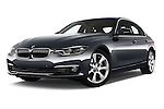 Stock pictures of low aggressive front three quarter view of 2016 BMW 3 Series Luxury 4 Door Sedan Low Aggressive