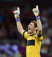 FUSSBALL  EUROPAMEISTERSCHAFT 2012   FINALE Spanien - Italien            01.07.2012 Torwart Gianluigi Buffon (Italien) jubelt nach dem 3:0