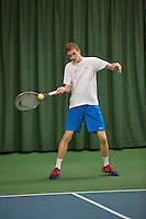 Rotterdam, The Netherlands, 15.03.2014. NOJK 14 and 18 years ,National Indoor Juniors Championships of 2014, Niels Kok (NED)<br /> Photo:Tennisimages/Henk Koster