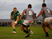 9th September 2017, Galway Sportsground, Galway, Ireland; Guinness Pro14 Rugby, Connacht versus Southern Kings; Darragh Leader (Connacht) on an attacking run as Godlen Masimla and Michael Willemse (Southern Kings) close in
