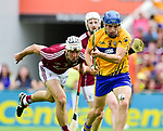 Shane O Donnell of Clare goals despite David Mc Inerney of Clare during their All-Ireland semi-final replay at Semple Stadium,Thurles. Photograph by John Kelly.