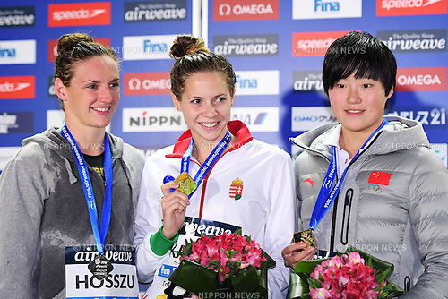 (L-R) Katinka Hosszu, Boglarka Kapas (HUN), Jie Dong (CHN), <br /> OCTOBER 26, 2016 - Swimming : FINA Swimming World Cup Tokyo <br /> Women's 200m Freestyle Award Ceremony <br /> at Tatsumi International Swimming Pool, Tokyo, Japan. <br /> (Photo by AFLO SPORT)