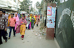 In front of the Banga Garment Ltd gates, Bangledeshi workers  going to the thousands of garments factories in Dhaka