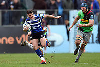 Freddie Burns of Bath Rugby takes on the Harlequins defence. Gallagher Premiership match, between Bath Rugby and Harlequins on March 2, 2019 at the Recreation Ground in Bath, England. Photo by: Patrick Khachfe / Onside Images