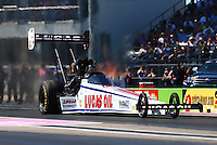 Oct 18, 2015; Ennis, TX, USA; NHRA top fuel driver Richie Crampton during the Fall Nationals at Texas Motorplex. Mandatory Credit: Mark J. Rebilas-USA TODAY Sports