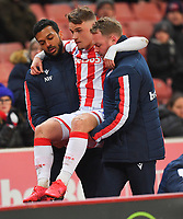 Stoke City's Thibaud Verlinden is carried off the pitch with a broken leg<br /> <br /> Photographer Dave Howarth/CameraSport<br /> <br /> The EFL Sky Bet Championship - Stoke City v Preston North End - Wednesday 12th February 2020 - bet365 Stadium - Stoke-on-Trent <br /> <br /> World Copyright © 2020 CameraSport. All rights reserved. 43 Linden Ave. Countesthorpe. Leicester. England. LE8 5PG - Tel: +44 (0) 116 277 4147 - admin@camerasport.com - www.camerasport.com