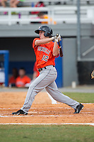 Myles Straw (12) of the Greeneville Astros follows through on his swing against the Kingsport Mets at Hunter Wright Stadium on July 7, 2015 in Kingsport, Tennessee.  The Mets defeated the Astros 6-4. (Brian Westerholt/Four Seam Images)