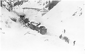 Snow slide in Burns Canyon with RGS rotary #2 and crew shoveling out in front.<br /> RGS  Burns Canyon, CO