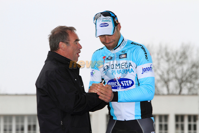 Bernard Hinault congratulates Tom Boonen (BEL) Omega Pharma-Quickstep on his record equaling 4th win of the 110th edition of the Paris-Roubaix spring classic cycle race in Roubaix Velodrome. 8th April 2012 (Photo by Eoin Clarke 2012)