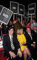 FILE PHOTO - Lucien Bouchard, his wife and Bernard Landry with Parti Quebecois members and people against the NO in the 1992 Federal referendum gather at Arena Maurice-Richard, October 23, 1992<br /> <br /> Photo : Pierre Roussel - Agence Quebec Presse