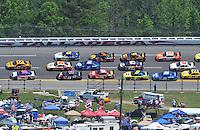 Apr 26, 2009; Talladega, AL, USA; NASCAR Sprint Cup Series drivers Matt Kenseth (17) and Dale Earnhardt Jr (88) lead the field during the Aarons 499 at Talladega Superspeedway. Mandatory Credit: Mark J. Rebilas-