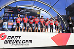 Lotto-Soudal team on stage at sign on before the start of Gent-Wevelgem in Flanders Fields 2017, running 249km from Denieze to Wevelgem, Flanders, Belgium. 26th March 2017.<br /> Picture: Eoin Clarke | Cyclefile<br /> <br /> <br /> All photos usage must carry mandatory copyright credit (&copy; Cyclefile | Eoin Clarke)