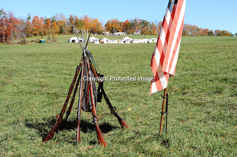 Civil War Reenactment Union Camp Rifle Stand and Flag