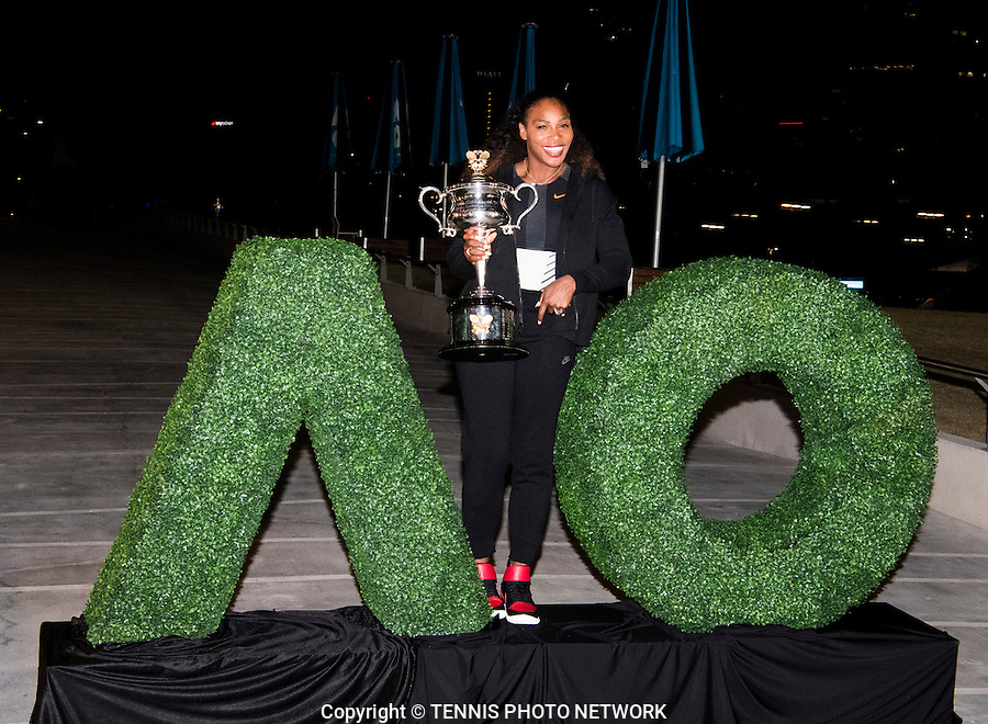 SERENA WILLIAMS (USA)<br /> <br /> TENNIS , AUSTRALIAN OPEN,  MELBOURNE PARK, MELBOURNE, VICTORIA, AUSTRALIA, GRAND SLAM, HARD COURT, OUTDOOR, ITF, ATP, WTA<br /> <br /> &copy; TENNIS PHOTO NETWORK