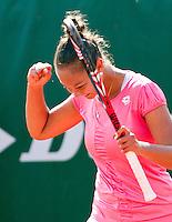 20-08-11, Tennis, Amstelveen, Nationale Tennis Kampioenschappen, NTK, Lesley Kerkhove bald haar vuist, zij is winnaar van de NTK