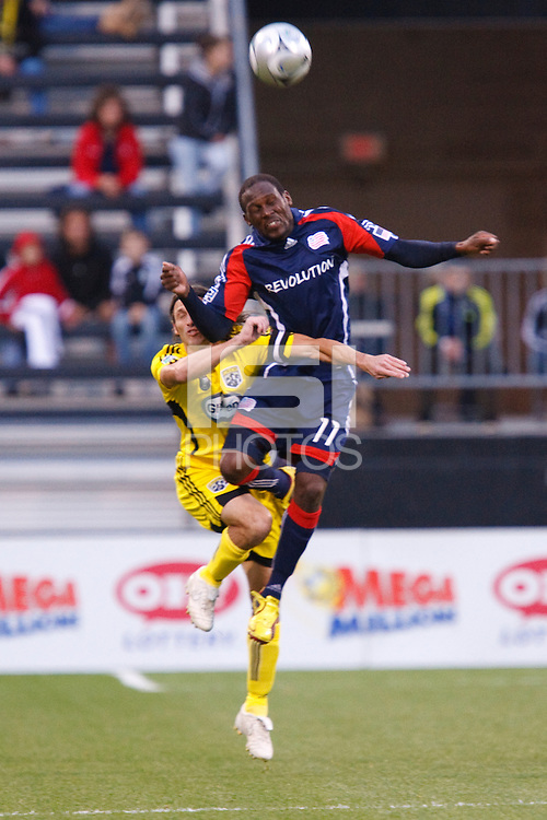 25 OCTOBER 2009:  Kheli Dube and Frankie Hejduk during the New England Revolution at Columbus Crew MLS game in Columbus, Ohio on October 25, 2009.