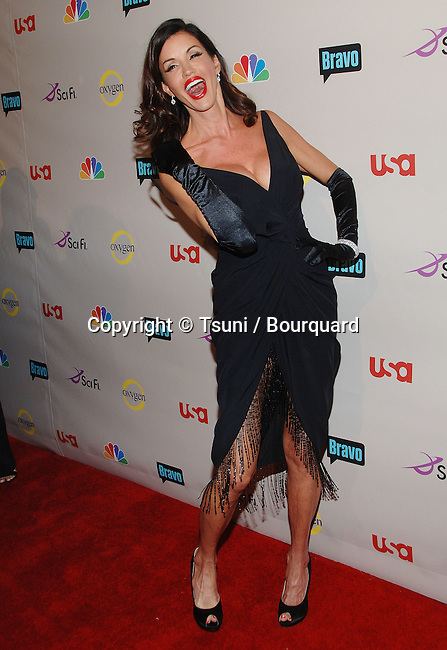 Janice Dickinson  - <br /> NBC  - tca Summer Party 2008 at Beverly Hilton In Los Angeles<br /> <br /> full length<br /> smile