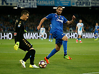 Rafael Cabral  Gonzalo Higuain  during the  italian serie a soccer match,between SSC Napoli and Juventus       at  the San  Paolo   stadium in Naples  Italy , April 02, 2017