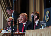 February 7, 2019 - Washington, DC, United States: United States President Donald J. Trump attends the 2019 National Prayer Breakfast. (Chris Kleponis / Polaris)United States President Donald J. Trump attends the 2019 National Prayer Breakfast at the Washington Hilton Hotel in Washington, DC on Thursday, February 7, 2019.<br /> Credit: Chris Kleponis / Pool via CNP