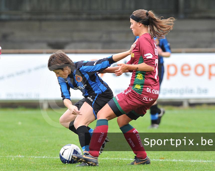 Club Brugge Dames - Dames Zulte Waregem : Ingrid De Rycke aan de bal voor Charlien Ver Eecke.foto DAVID CATRY / Vrouwenteam.be