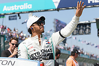 March 17, 2019: Lewis Hamilton (GBR) #44 from the Mercedes-AMG Petronas Motorsport team waves to the crowd during the drivers parade prior to the start of the 2019 Australian Formula One Grand Prix at Albert Park, Melbourne, Australia. Photo Sydney Low