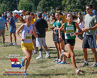 2012 Foot Locker Cross Country All-Americans Taylor Werner right, and Hannah Long left, battle near the one mile mark in the Varsity Girls Green 5k race at the 2013 Forest Park Cross Country Festival, Saturday, September 14, in St. Louis, MO. Werner, a Ste. Genevieve sophmore won for the second straight year and bettered her own meet record, finishing in 16:47 for the fastest time in the United States for a high school girl. Long a junior for Eureka High School, was 2nd for the second straight year finishing in 17:37.