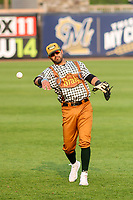 Wisconsin Timber Rattlers first baseman Gabriel Garcia (13) warms up in the outfield prior to a Midwest League game against the Peoria Chiefs on May 31, 2019 at Fox Cities Stadium in Appleton, Wisconsin. Peoria defeated Wisconsin 3-0. (Brad Krause/Four Seam Images)