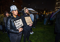 Olivia Maxwell-Yates and Lucas Arsenault. Black Lives Matter George Floyd memorial vigil at Parliament in Welington, New Zealand on Monday, 1 June, 2020. Photo: Dave Lintott / lintottphoto.co.nz