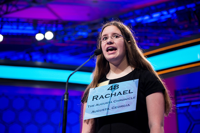 Speller No. 048, Rachael Cundey, 14, eighth grader at Lakeside Middle School, Evans, Georgia, competes in the preliminary rounds of the Scripps National Spelling Bee at the Gaylord National Resort and Convention Center in National Habor, Md., on Wednesday, May 29, 2013. Photo by Bill Clark