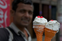 Ice Cream Vendor during the Balaju mela Hindu bating festival, Kathmandu, Nepal