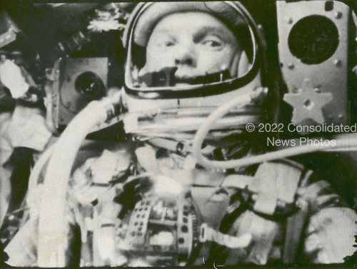 """Astronaut John Glenn photographed in space on February 20, 1962 by an automatic sequence motion picture camera during his flight on """"Friendship 7."""" Glenn was in a state of weightlessness traveling at 17,500 mph as these pictures were taken..Credit: NASA via CNP"""