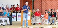 Wisconsin Governor, Scott Walker, addresses the 2015 Wisconsin State Fair prior to Fox News presidential debate on Thursday, August 6, 2015