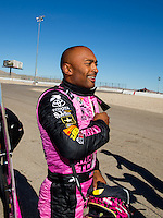 Nov 1, 2015; Las Vegas, NV, USA; NHRA top fuel driver Antron Brown after clinching the 2015 top fuel dragster world championship during eliminations for the Toyota Nationals at The Strip at Las Vegas Motor Speedway. Mandatory Credit: Mark J. Rebilas-USA TODAY Sports