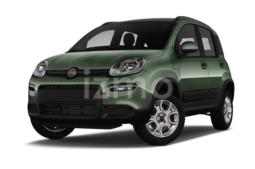Stock pictures of low aggressive front three quarter view of 2016 Fiat Panda-4X4 Pop 5 Door Hatchback Low Aggressive