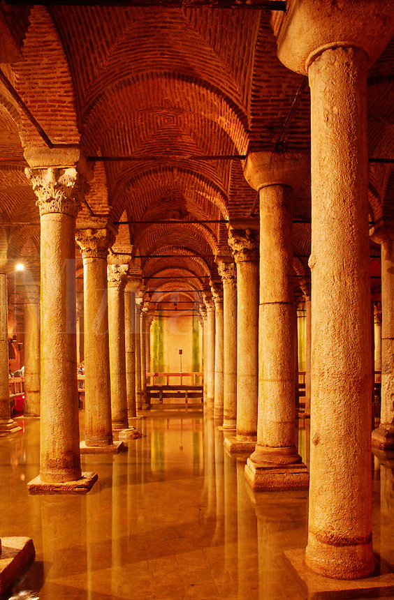 The UNDERGROUND CISTERN was originally built in 532 AD by Justian to store water for the Emperors Palace - Istanbul, Turkey
