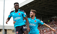 Fleetwood Town's Devante Cole celebrates scoring their first goal with team mate Wes Burns<br /> <br /> Photographer Andrew Kearns/CameraSport<br /> <br /> The EFL Sky Bet League One - Northampton Town v Fleetwood Town - Saturday August 12th 2017 - Sixfields Stadium - Northampton<br /> <br /> World Copyright &copy; 2017 CameraSport. All rights reserved. 43 Linden Ave. Countesthorpe. Leicester. England. LE8 5PG - Tel: +44 (0) 116 277 4147 - admin@camerasport.com - www.camerasport.com