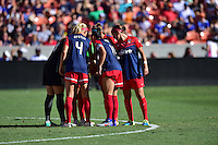 Houston, TX - Sunday Oct. 09, 2016: Washington Spirit huddle prior to a National Women's Soccer League (NWSL) Championship match between the Washington Spirit and the Western New York Flash at BBVA Compass Stadium.