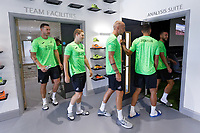 Pictured L-R: Erwin Mulder, George Byers, Mike van der Hoorn enter the meeting room. Thursday 27 June 2019<br /> Re: Swansea City FC players report for training at Fairwood training ground, UK