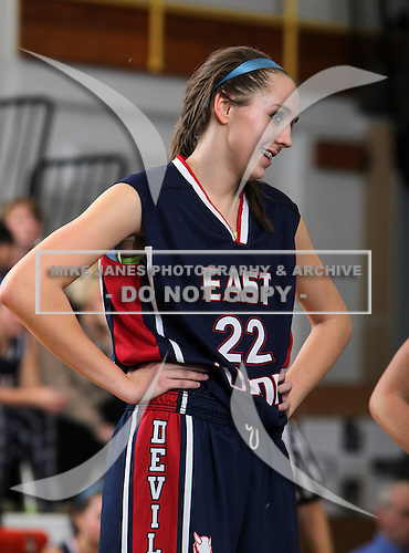 February 1, 2011:  Pioneer Lady Pioneers varsity basketball against the East Aurora Lady Blue Devils at Pioneer Central School in Yorkshire, New York.  (Copyright Mike Janes Photography)