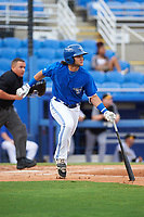 Dunedin Blue Jays designated hitter Bo Bichette (10) runs to first after flying out to right in the bottom of the first inning during a game against the Bradenton Marauders on July 17, 2017 at Florida Auto Exchange Stadium in Dunedin, Florida.  Bradenton defeated Dunedin 7-5.  (Mike Janes/Four Seam Images)