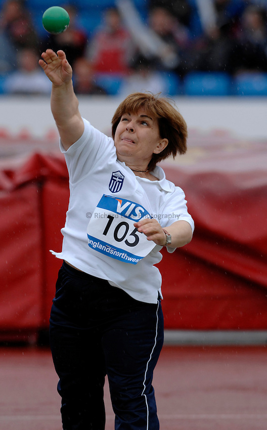 Photo: Richard Lane..VISA Paralympic World Cup 2007. Athletics. 13/05/2007. .Marika Garefa of Greece in the women's F40 shot put.