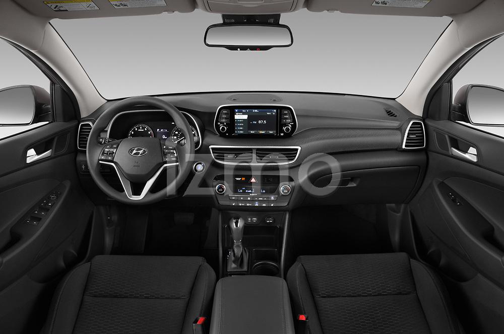 Stock photo of straight dashboard view of 2019 Hyundai Tucson Inspire 5 Door SUV Dashboard