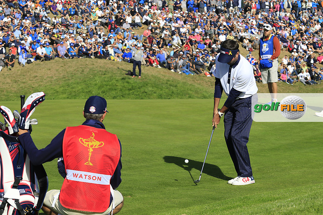 Bubba Watson (Team USA) chips onto the 9th green during Saturday's Foursomes Matches at the 2018 Ryder Cup 2018, Le Golf National, Ile-de-France, France. 29/09/2018.<br /> Picture Eoin Clarke / Golffile.ie<br /> <br /> All photo usage must carry mandatory copyright credit (© Golffile | Eoin Clarke)