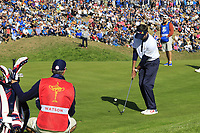 Bubba Watson (Team USA) chips onto the 9th green during Saturday's Foursomes Matches at the 2018 Ryder Cup 2018, Le Golf National, Ile-de-France, France. 29/09/2018.<br /> Picture Eoin Clarke / Golffile.ie<br /> <br /> All photo usage must carry mandatory copyright credit (&copy; Golffile | Eoin Clarke)
