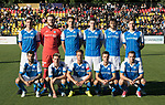 FK Trakai v St Johnstone…06.07.17… Europa League 1st Qualifying Round 2nd Leg, Vilnius, Lithuania.<br />St Johnstone line-up before kick off, back from left, Joe Shaughnessy, Zander Clark, Ally Gilchrist, Blair Alston, Murray Davidson and Liam Craig.<br />front from left, Richie Foster, Sctt Tanser, Chris Millar, Stefan Scougall and Chris Kane<br />Picture by Graeme Hart.<br />Copyright Perthshire Picture Agency<br />Tel: 01738 623350  Mobile: 07990 594431