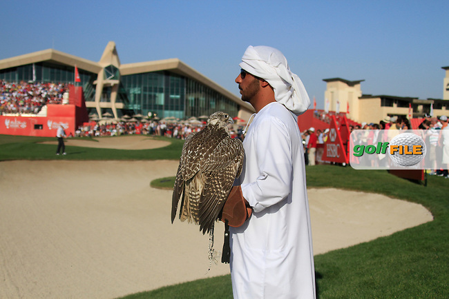 Falcon on the 18th hole during Sunday's Final Round of the HSBC Golf Championship at the Abu Dhabi Golf Club, United Arab Emirates, 29th January 2012 (Photo Eoin Clarke/www.golffile.ie)