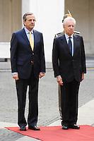 Mario Monti, Presidente del Consiglio del Governo Italiano, e il primo Ministro Greco Antonis Samaras. .Roma, 21/09/2012.Palazzo Chigi, picchetto d'onore.Foto Insidefoto / Antonietta Baldassarre.